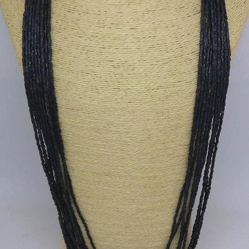 Maxi colar longo azul berinjela