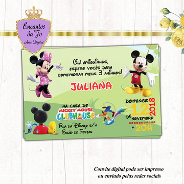 Convite Digital Mickey e Minnie Club House