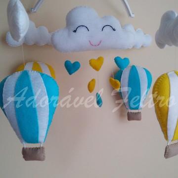 Móbile Musical Balões e Nuvens +Suporte