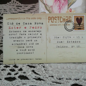 CONVITE CHÁ DE CASA NOVA VINTAGE
