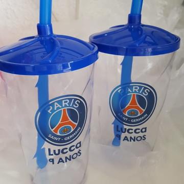 Lembrancinha PSG Paris Saint Germain Copos com tampa