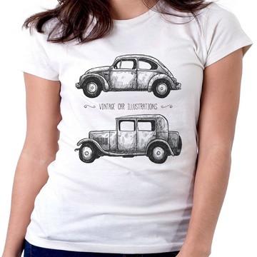 Blusa feminina baby look carro antigo ford fusca volkswagen