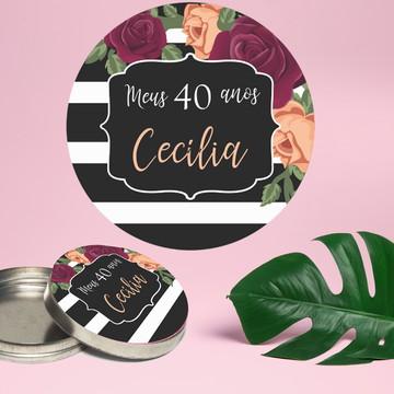 Adesivo para latinha mint to be listrado floral marsala