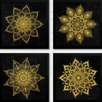 Quadros Mandalas Douradas e Pretas Moldura e Vidro M267B