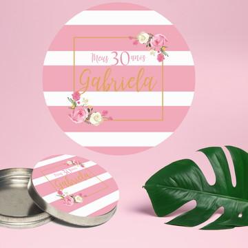 Adesivo para latinha mint to be aniversário floral listrado