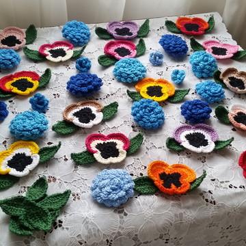 Kit Flores e Folhas em Crochê para Customização