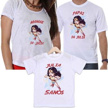 camiseta família pai mãe e filha mulher maravilha