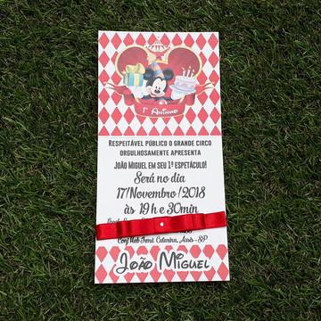 Convite Infantil Mickey Circo Barato Personalizado Imp. Graf