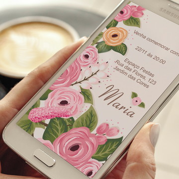 Convite de aniversário digital tema floral