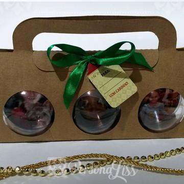 Kit 3 Bolas Personalizadas p/ Árvore de Natal c/ embalagem