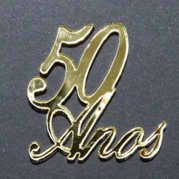 Plaquinhas 50 Anos em Acrílico Espelhado Dourada-10 unidades