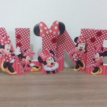 Letras Minnie decoradas mesa MDF