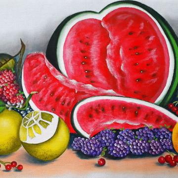 Pano de copa ou prato pintado à mão frutas