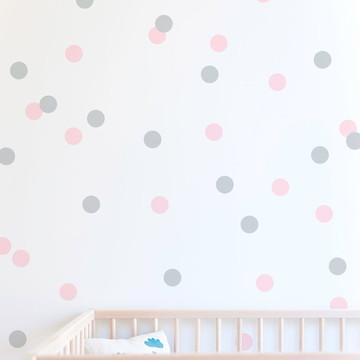 Adesivo bolinhas cinza e rosa