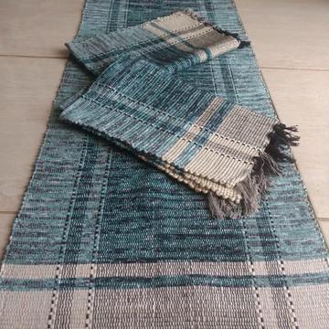 jogo de passadeira com 2 tapetes em retalho de algodão