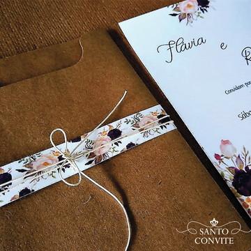 Convite de casamento craft floral