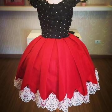 Vestido para Miss Vermelho com Preto- Infantil