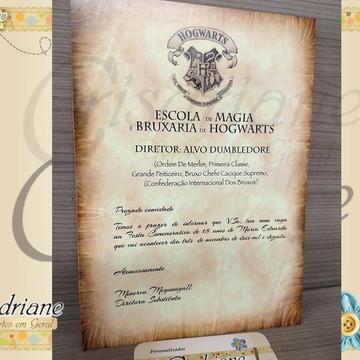 Carta de Convocação Hogwarts