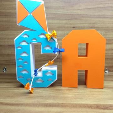 Letras 3D pipa e catavento