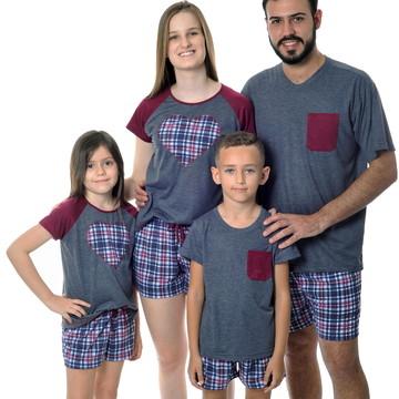 Kit Família com 5 Pijamas Xadrez Curto - FRETE GRÁTIS