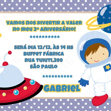 convite astronauta para zap ou imprimir