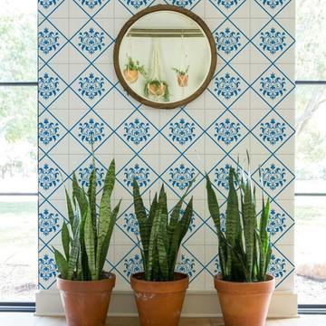 Adesivo de Azulejo Floral Azul