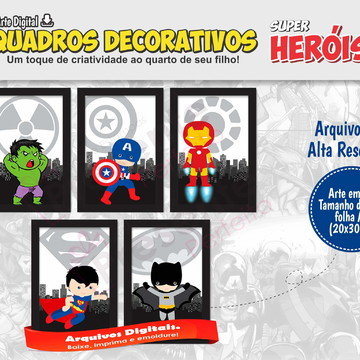 Kit de Quadros Super Herois