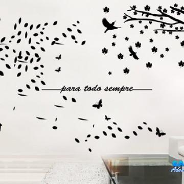 Adesivo De Parede Combo Árvores, Pássaros E Frase Decoração