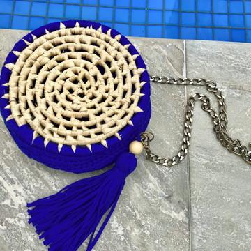 Bolsa de palha com crochê