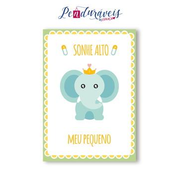 Placas de MDF | Linha Baby | Sonhe Alto meu Pequeno Elefante