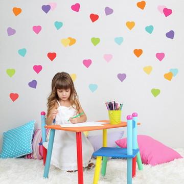 Adesivo corações grandes coloridos