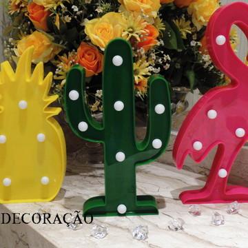 Kit Luminária Abacaxi, Flamingo, Cacto para decoração de mes