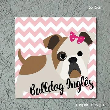 Plaquinha de MDF raça Bulldog Inglês