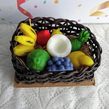 Sabonete Frutas Cesto Binde Corporativo Decoração de Mesa
