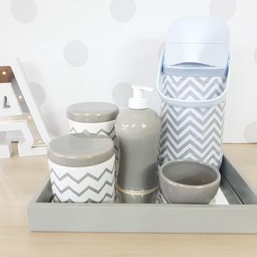 Kit Higiene Porcelana Poa Cinza e branco com garrafa