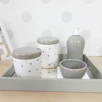 Kit Higiene Porcelana Poa cinza e branco