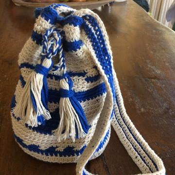 Bolsa wayuu palha e azul