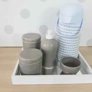 Kit Higiene Porcelana Cinza e branco