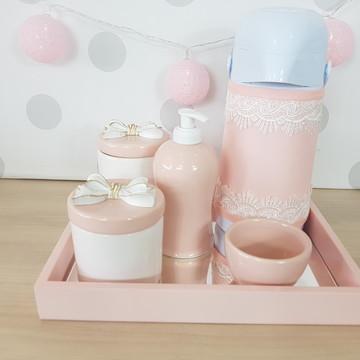 Kit higiene porcelana laço com garrafa