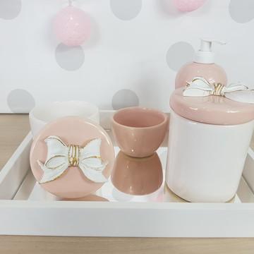 Kit higiene porcelana laço Rosa