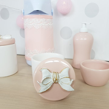 Kit higiene porcelana laço sem bandeja