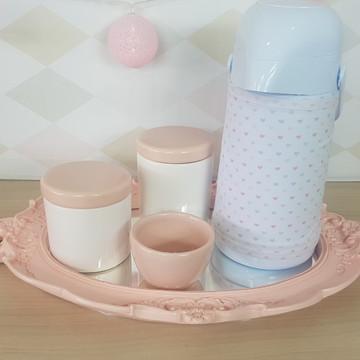 Kit Higiene Porcelana Rosa Seco com garrafa