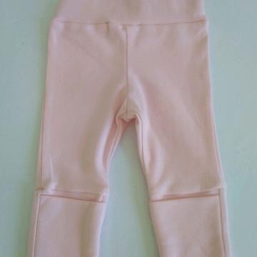CALÇA rosa para bebes com cós de ajuste e pé reversível