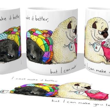 Caneca Porcelana luxo Copo Xícara cachorro pug dog cão