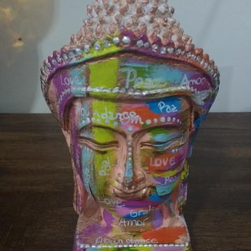 Cabeca de Buddha com Mantra Indiano