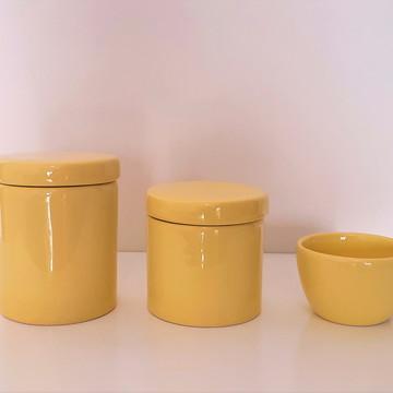 Potes de Porcelana Kit Higiene Amarelo
