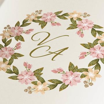 Monograma digital para casamento tema floral