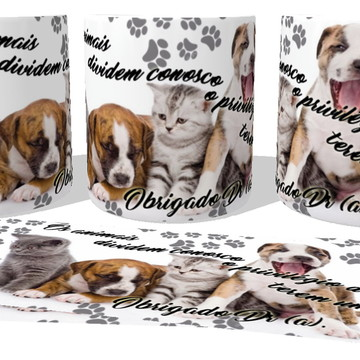 Caneca Porcelana luxo Copo Xícara Os animais cachorro dog