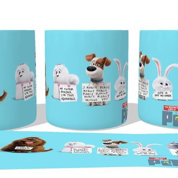 Caneca Porcelana Copo Xícara Pets movie cachorro gato disney