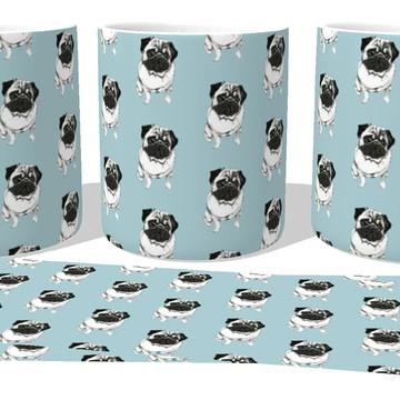 Caneca Porcelana Copo Xícara Pugs cachorro dog cão raça
